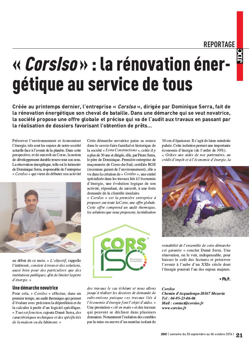 Rénovation énergétique - CORSISO - travaux de rénovation - audit énergétique - isolation des combles - isolation des planchers - calorifugeage - entretien toiture